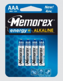 Memorex AAA Energy + Alkaline Batteries 4 pack LR03 1.5v 331210-04